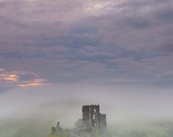Ancient English Castle in the Mist, Fantasy Landscape Photography Print. Historic Corfe Castle.