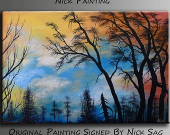 "Original Forest Landscape painting Contemporary Fine art Home decor -Silent View- By Nick Sag 36"" x 24"""