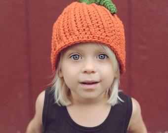 Kids Pumpkin Hat, Crochet Fall  Hat, Kids Hats, Kids Crochet Hats, Pumpkin Beanie, Orange Pumpkin Hat, One Size Fits Most Kids 3-12 yrs.