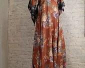 70s Boho Gypsy Dress - Rayon Floral Print Patchwork, Hankie Hem, Angel Sleeves
