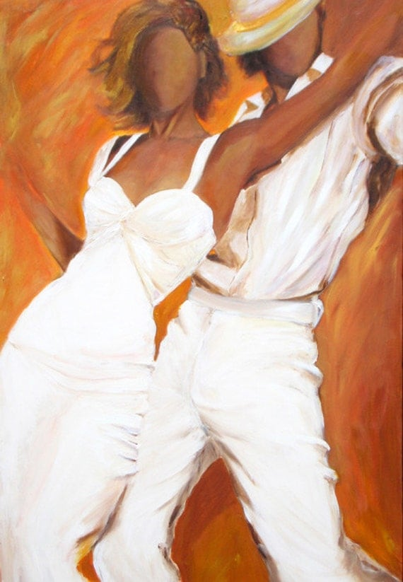 Items similar to Tango dancers art print on paper in white ...