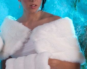 "Custom 10"" wide Bride's faux fur wrap with regular size muff winter wedding shawl shrug Available in white, ivory, cream or black"