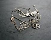 Tales of Journeys - Sterling silver petroglyph earrings, Scandanavian rock art, Fossum Sweden