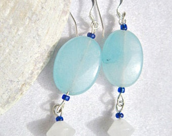 Blue Amazonite Earrings Ovals With Snow Quartz Dangle    ID 240