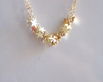Gold star necklace. Silver stars necklace. Tiny sparkling little stars. Gold or Silver necklace stars. Star jewelry