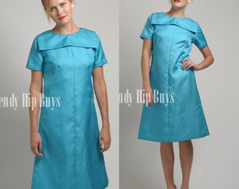 Mod Dress, Vintage 60s Dress, Vintage Turquoise Dress, Mad Men Dress, Vintage Blue Dress, 60s shift dress, Vintage formal dress - S/M