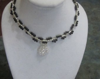 Seed Bead Necklace Black and Opalescent Beads
