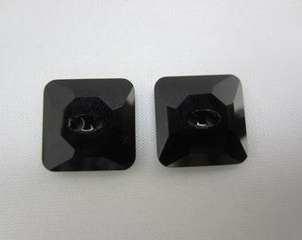 Jet Black Swarovski Crystal Buttons - 14mm square - qty. 2