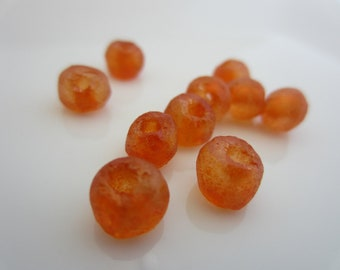 Recycled Glass Beads - Orange - 6mm - qty. 12