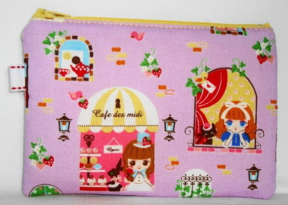 Cafe des Midi Padded Zippered Pouch --- (Little Cafe Girls) Purple