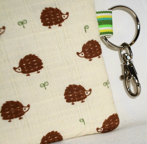 Hedgie Vs. Hedgie Zippered Pouch --- Brown w/Lobster Hook/Key Ring