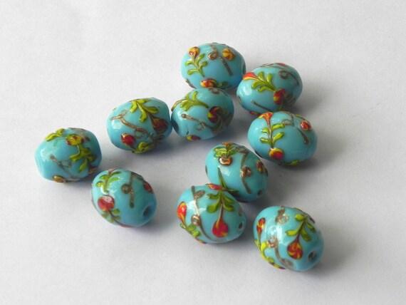 supplies,Beads -  10 Pcs.extremly beautiful handmade blue oval shape lampwork glass  beads