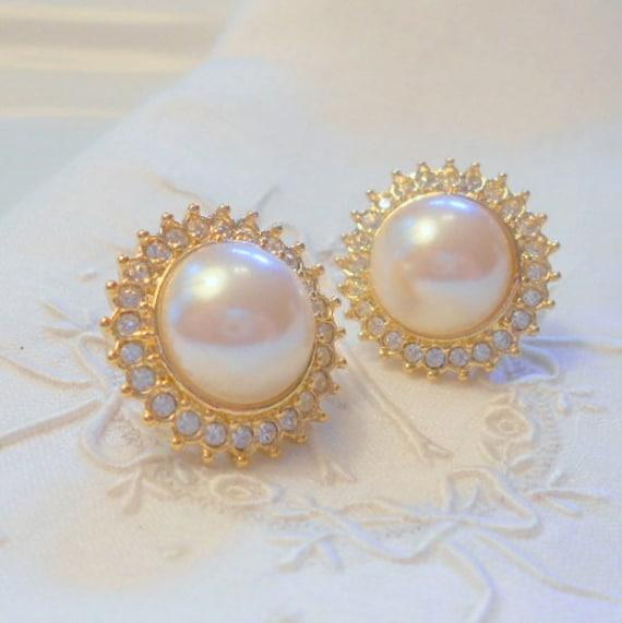 Vintage Pearl Rhinestone Earrings, Yellow Gold Tone Cabochon Pierced Earrings