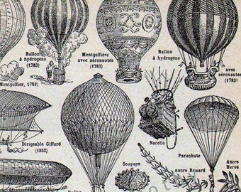 Balloon Zeppelin Dirigible French Dictionary Paris France Transportation Chart To Frame