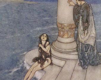 Little Mermaid Meets Her Prince Edmund Dulac Hans Andersen Vintage Children's Fairytale Nursery Lithograph Print To Frame