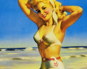 Swimsuit Blond Bombshell Vintage Pinup Girl Poster Print To Frame Mid Century Cheesecake 1950s Art Frahm