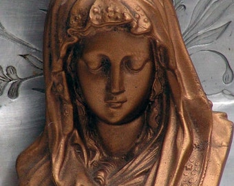 Madonna Virgin Mary Bust Cast Bronze Blessed Mother  BVM Catholic Home Decor