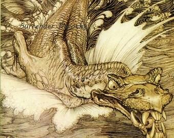 Leviathan Dragon Sea Monster Arthur Rackham Vintage Children's Nursery Lithograph Art Print To Frame