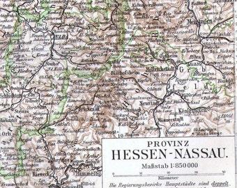 Hesse Nassau Germany Map 1906 Vintage Edwardian Steel Engraving Cartography To Frame