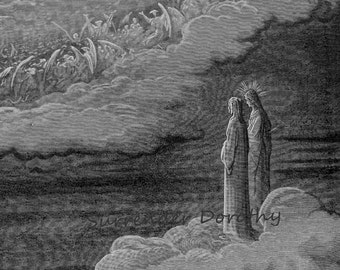 Scintillating Host Of Heaven Gustave Dore Dante Paradiso, Canto 5 Angels Vintage Engraving To Frame