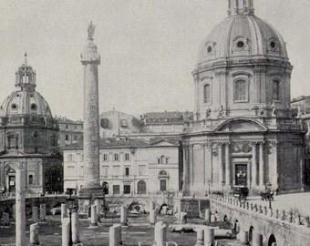 Trajan Forum & Column Rome Italy 1890 Vintage Victorian Era Greek Architecture Rotogravure Illustration to Frame