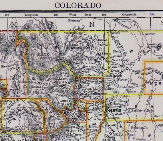 Antique Map Colorado Indian Territory By SurrenderDorothy