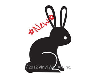Woodland Rabbit Vinyl Wall Decal size SMALL