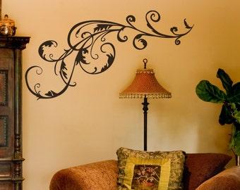Swirl Vinyl Decal size LARGE - Swirl, Swirl Decal, Swirl Sticker, Swirl Wall Art, Flourish, Flourish wall art, Flourish Decal