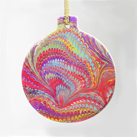 Hand Marbled Christmas Ornament Round Ceramic Bisque OOAK Holidays Home Decor