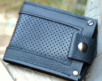Men's Leather Wallet - Slim Jim Bifold Money Clip --- Perforated Black Inlay in Black