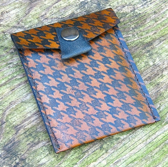 Leather Business Card Pocket Wallet - Houndstooth on Antique Brown