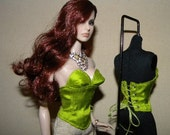 LIME green- Snaps OR Lace Up CUSTOM Bustier for Fashion Royalty, FR2 Dolls Silk Corset