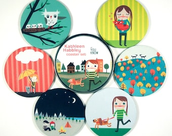 Kathleen Habbley coaster set happy camper owls animal lover Rescue Pets Hostess Gifts Under 20 first apartment housewarming gift cats dogs