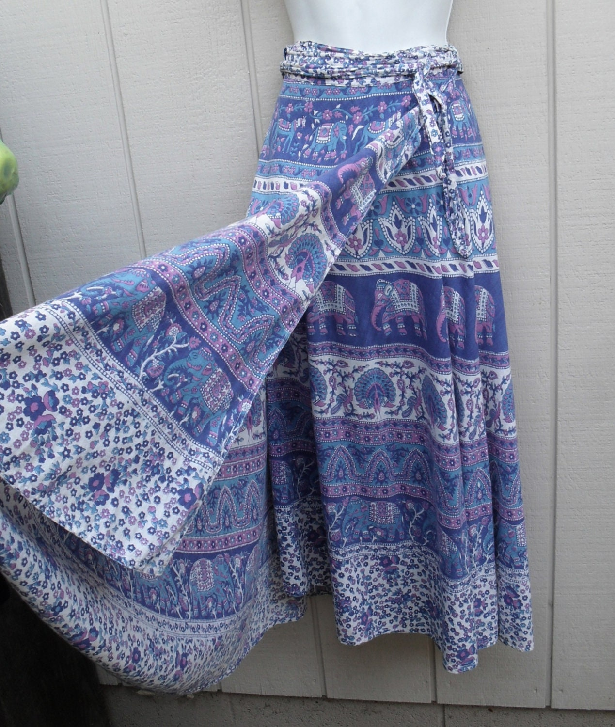 Vintage 70s Batik Cotton Indian Wrap Skirt Dress Elephants