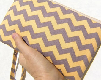 wedding clutch, gift pouch 2 pockets,wristlet,travel cotton  - Grey yellow chevron