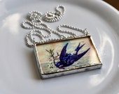 Vintage Swallow Silver Soldered Glass Pendant