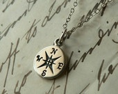 Small Compass Sterling Silver Charm Necklace Nautical Pendant Jewelry