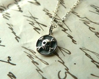 Skull and Crossbones Pendant Sterling Necklace Pirate Tiny Medallion