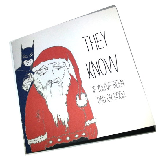 They Know- Santa and Batman card set of 3 Christmas cards