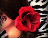 SALE Large Red Rose Mesh Flower Hair Clip