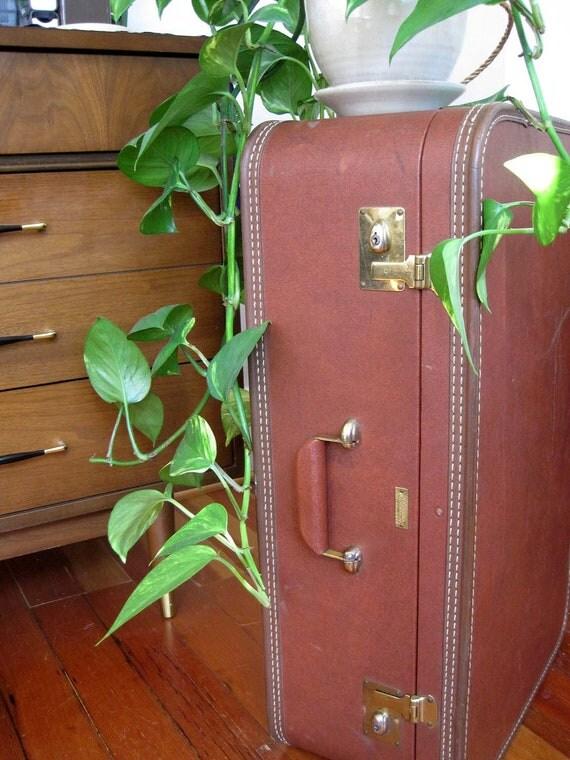 Large Vintage Brown Suitcase
