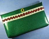 Large Green Glitter Vinyl Monster Pouch
