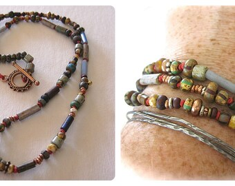 Boho Necklace Hand Knotted Muted Painted Glass Fall Fashion African Trade Beads Bracelet Wrap