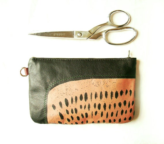 Sale: Recycled Leather Small Clutch or large Pouch Half Price