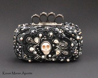 Goth Jewelbox Knuckleduster Beaded handbag -  clutch box