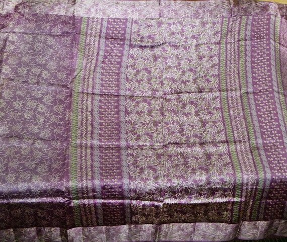 Reserved for Dana -Vintage Silk sari - Lavender flowers