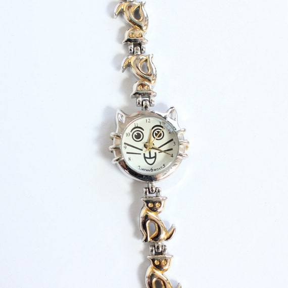 vintage 90's CAT HEAD silver cat cat faces and body metal watch