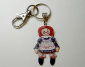 Handcrafted Plastic Key Fob Chain Purse Charm Raggedy Ann Jointed