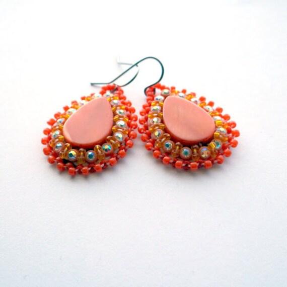 Orange Beaded Earrings Nickel Free