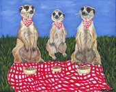 The Meerkat Picnic 8 x 10 Original Canvas Painting Whimsical